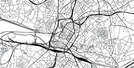 Plan de la ville de vecteur urbain de Charleroi, Belgique Vecteurs