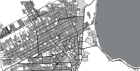 Urban vector city map of Cancun, Mexico