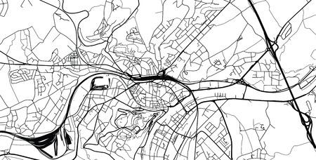 Urban vector city map of Namur, Belgium