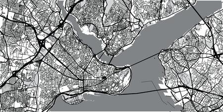 Urban vector city map of Istanbul, Turkey