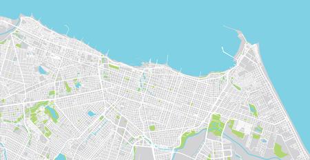 Urban vector city map of Fortaleza, Brazil