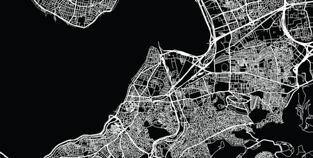 Urban vector city map of Izmir, Turkey