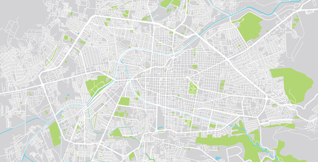 Urban vector city map of Morelia, Mexico