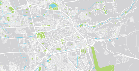 Urban vector city map of Santiago de queretaro, Mexico
