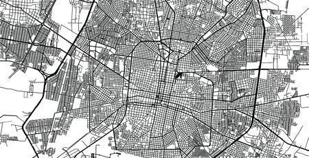 Urban vector city map of Merida, Mexico