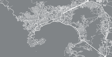 Urban vector city map of Acapulco, Mexico