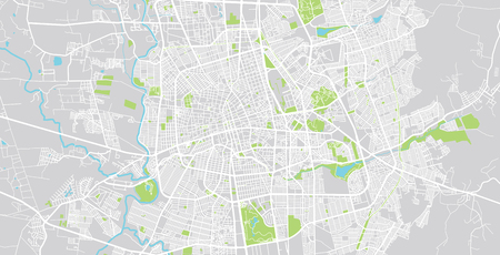 Urban vector city map of Aguascalientes, Mexico