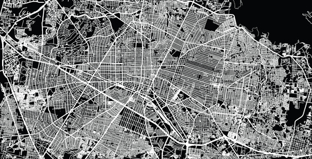 Urban vector city map of Guadalajara, Mexico