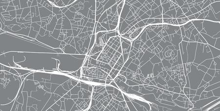 Urban vector city map of Charleroi, Belgium Vektoros illusztráció