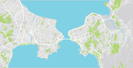 Urban vector city map of Florianopolis, Brazil