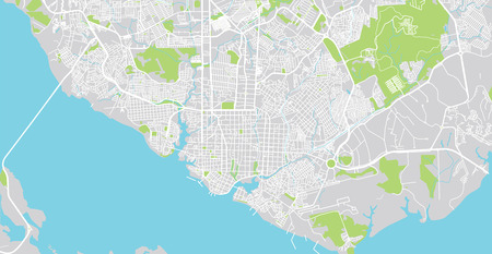 Urban vector city map of Manaus, Brazil