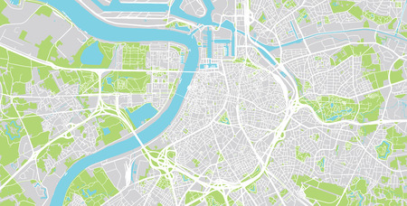 Plan de la ville de vecteur urbain d'Anvers, Belgique