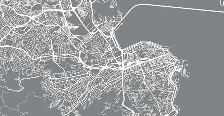 Urban vector city map of Rio de Janeiro, Brazil