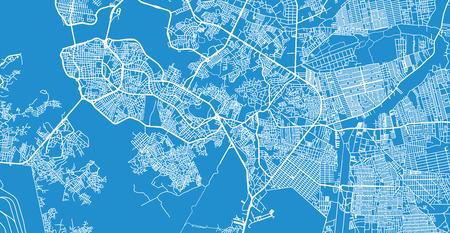 Urban vector city map of Sao Luis, Brazil Ilustração