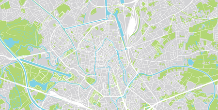 Urban vector city map of Ghent, Belgium