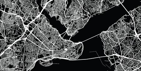 Urban vector city map of Istanbul, Turkey