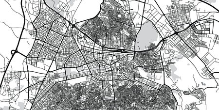 Urban vector city map of Gaziantep, Turkey
