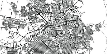 Urban vector city map of Caliacan, Mexico