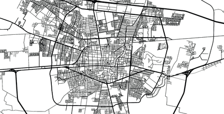 Urban vector city map of Celaya, Mexico