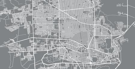Urban vector city map of Hermosilla, Mexico Ilustração