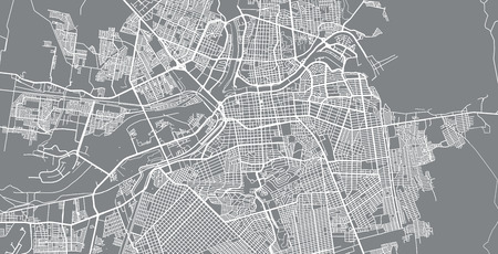 Urban vector city map of Caliacan, Mexico Vektoros illusztráció