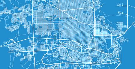 Urban vector city map of Hermosilla, Mexico