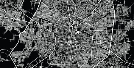 Urban vector city map of Merida, Mexico