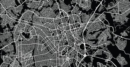 Urban vector city map of Gioania, Brazil