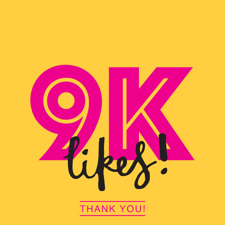 9k likes online social media thank you banner Archivio Fotografico - 123004301
