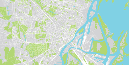 Urban vector city map of Szczecin, Poland Stock Illustratie