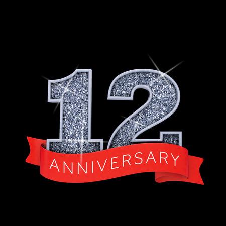 Number 12 silver sparkling anniversay celebration banner. 3D Render