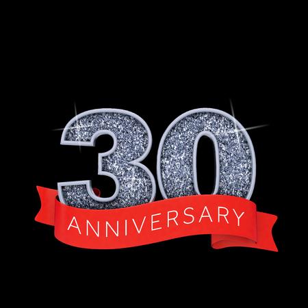 Number 30 silver sparkling anniversay celebration banner. 3D Render Stock Photo