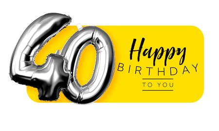 40 번째 생일 노란색 인사말 배경입니다. 3D 렌더링 스톡 콘텐츠