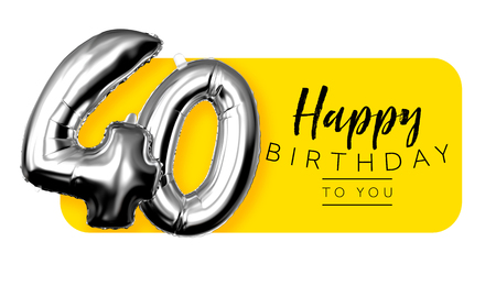 Happy 40th birthday yellow greeting background. 3D Rendering Stok Fotoğraf