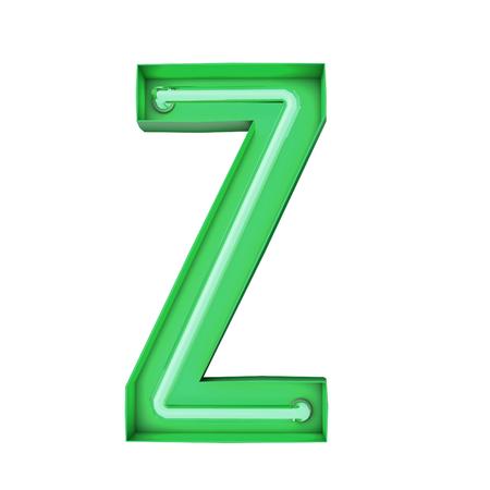 Neon style light letter Z. Glowing neon Capital letter. 3D rendering