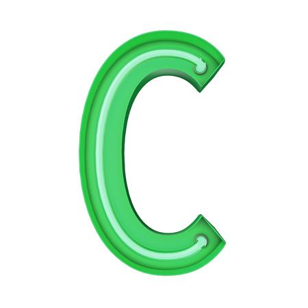 Neon style light letter C. Glowing neon Capital letter. 3D rendering 写真素材