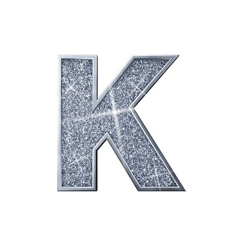 Silver glitter letter K. Shiny sparkling capital letter. 3D rendering 写真素材