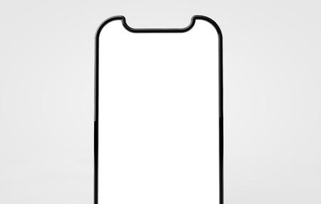 Smartphone blank screen template. Futuristic phone mockup. 3D Rendering