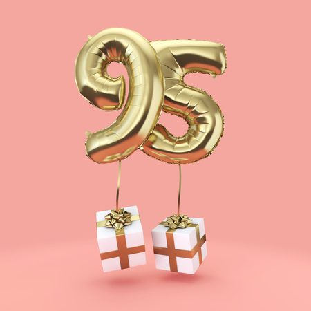 Number 95 birthday celebration gold foil helium balloon with presents. 3D Render