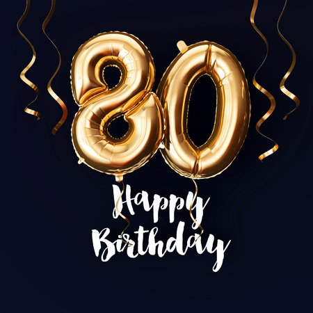 Happy 80th Birthday gold foil balloon background with ribbons. 3D Render