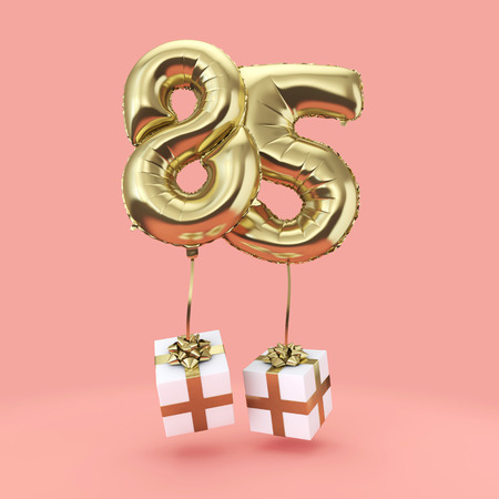 Number 85 birthday celebration gold foil helium balloon with presents. 3D Render