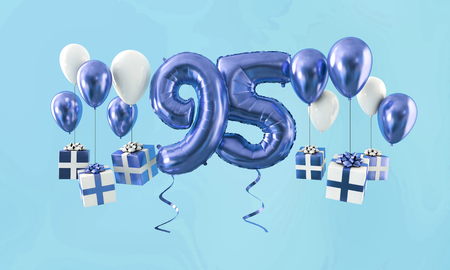 Number 95 birthday celebration gold balloon with presents. 3D Render Stock Photo