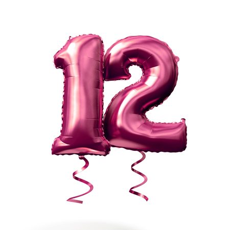 Number 12 rose gold helium balloon isolated on a white background. 3D Render