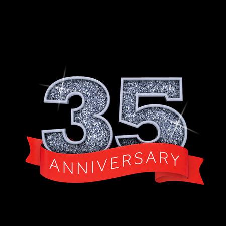 Number 35 silver sparkling anniversay celebration banner. 3D Render