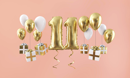 Number 11 birthday celebration gold balloon with presents. 3D Render Stockfoto