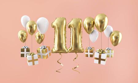 Palloncino d'oro per la celebrazione del compleanno numero 11 con regali. Rendering 3D