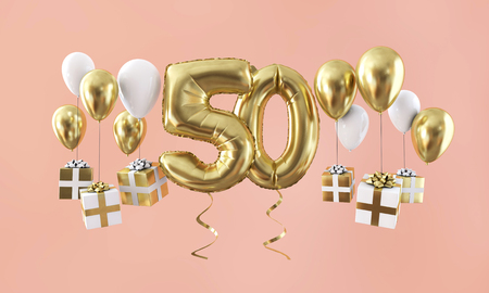 Number 50 birthday celebration gold balloon with presents. 3D Render