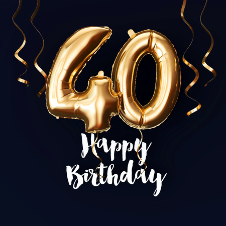 Happy 40th Birthday gold foil balloon background with ribbons. 3D Render