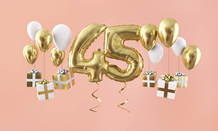 Number 45 birthday celebration gold balloon with presents. 3D Render