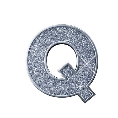 Silver glitter letter Q. Shiny sparkling capital letter. 3D rendering